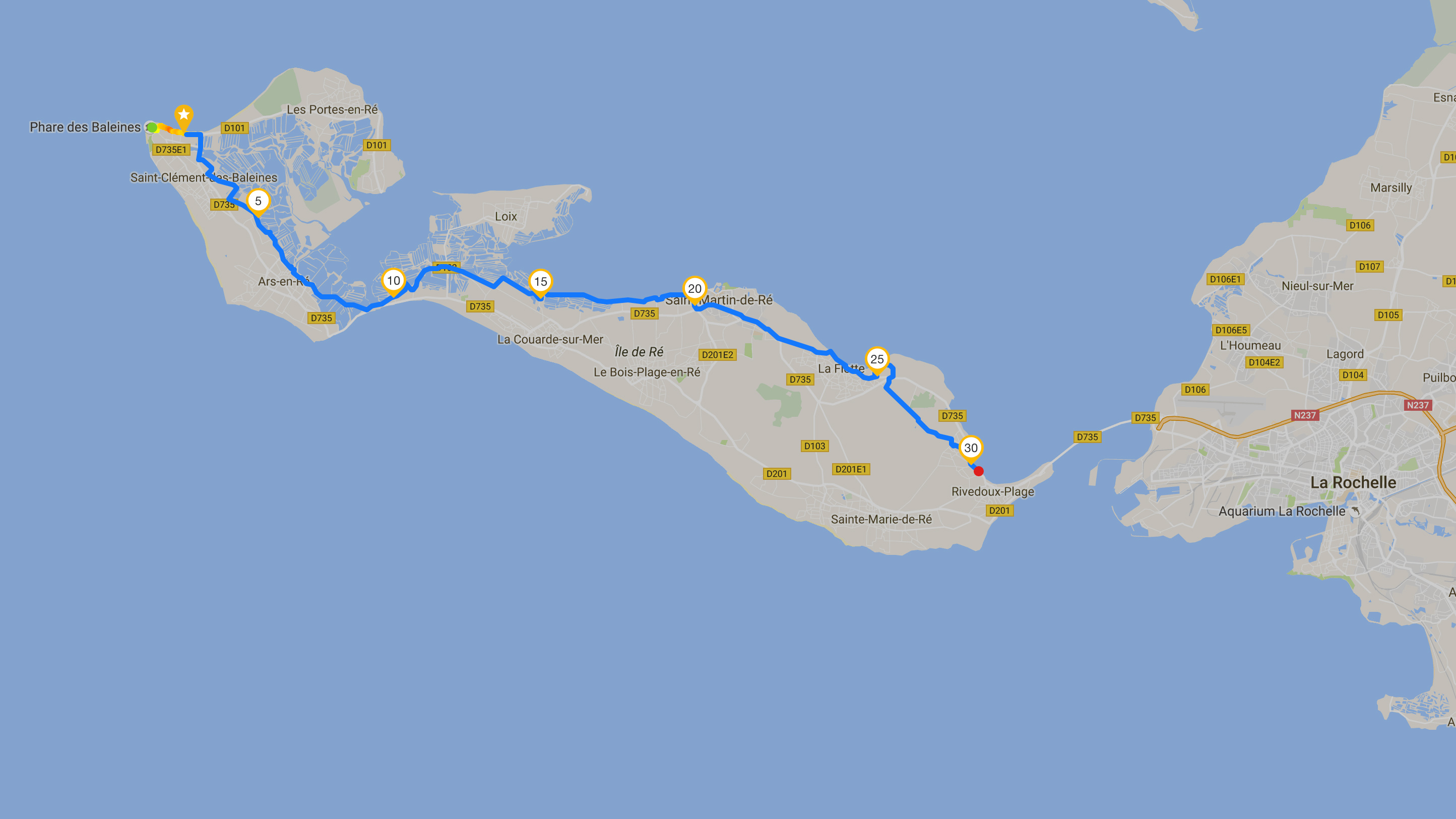 Itinéraire retour d'une journée au Phare de Baleines