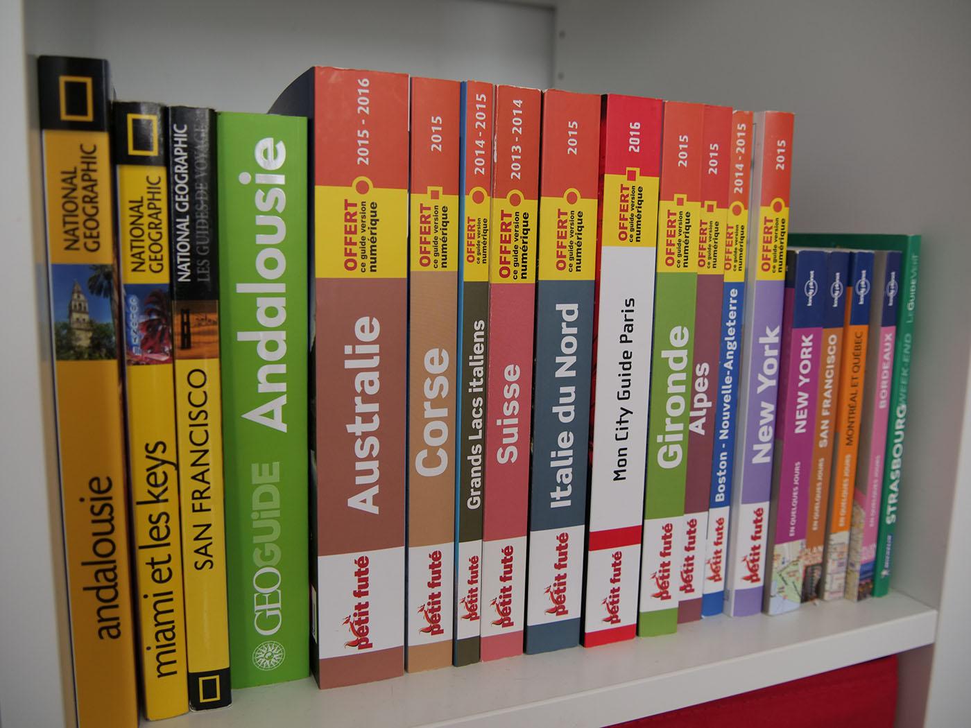 livres de voyage pour décorer le salon