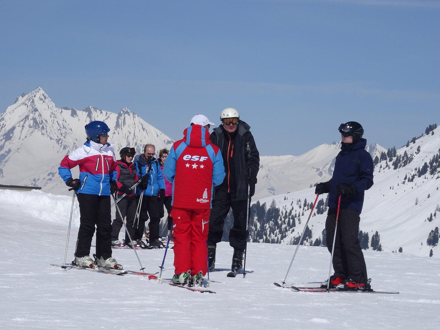 cours avec l'école de ski français à La Plagne